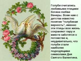 Голуби считались любимыми птицами богини любви Венеры. Всем нам с детства из