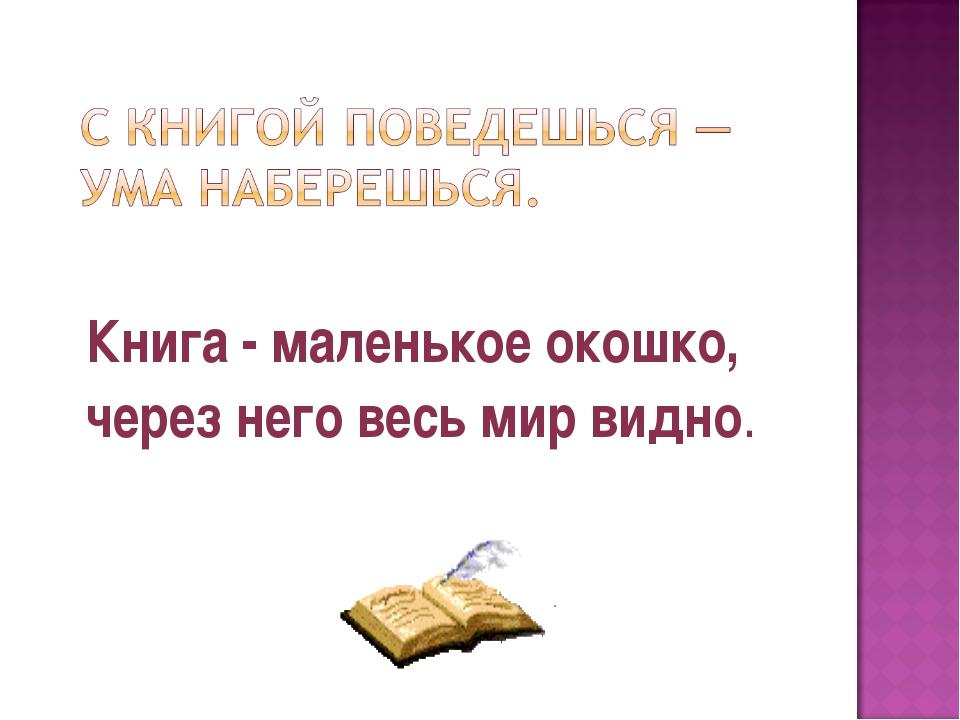 Книга - маленькое окошко, через него весь мир видно.