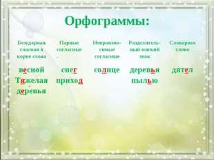 Орфограммы: Безударная гласная в корне словаПарные согласныеНепроизно- симы