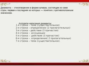 1-я строка – тема (существительное) 2-я строка – определение (2 прилагательн