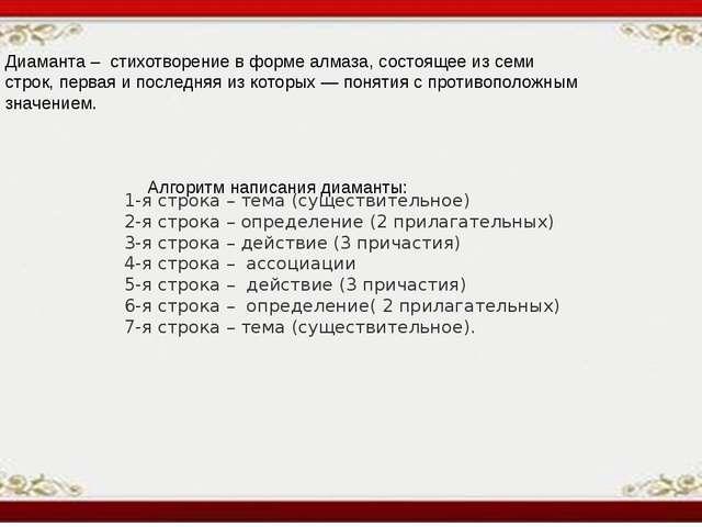 1-я строка – тема (существительное) 2-я строка – определение (2 прилагательн...