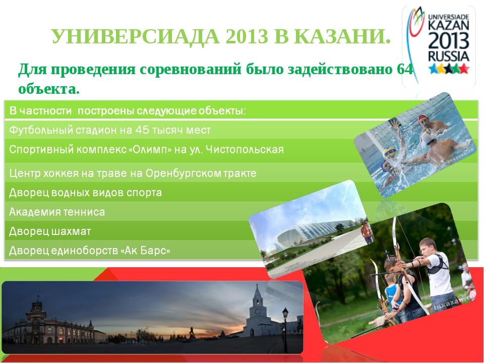 УНИВЕРСИАДА 2013 В КАЗАНИ. Для проведения соревнований было задействовано 64...
