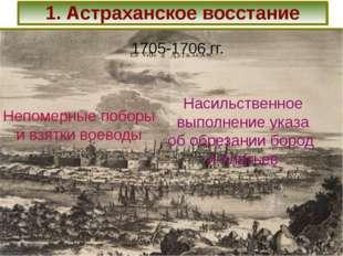 1. Астраханское восстание 1705-1706 гг. Непомерные поборы и взятки воеводы На