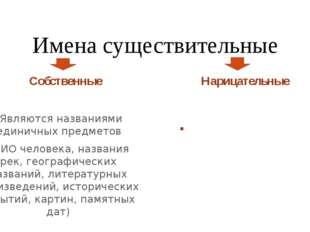 Имена существительные Собственные Являются названиями единичных предметов (ФИ