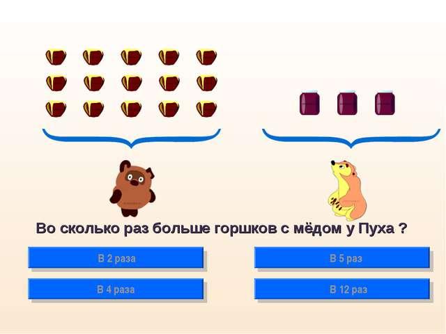 Во сколько раз больше горшков с мёдом у Пуха ? В 2 раза В 4 раза В 5 раз В 12...