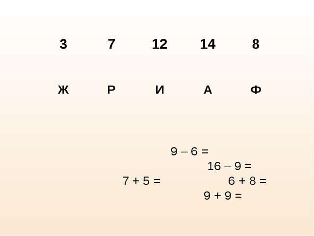 9 – 6 = 16 – 9 = 7 + 5 = 6 + 8 = 9 + 9 =