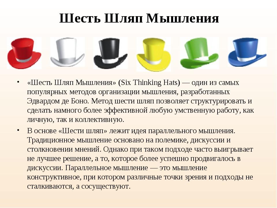 Шесть Шляп Мышления «Шесть Шляп Мышления» (Six Thinking Hats) — один из самых...
