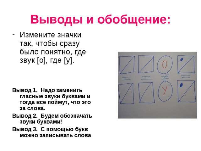 Выводы и обобщение: Измените значки так, чтобы сразу было понятно, где звук [...