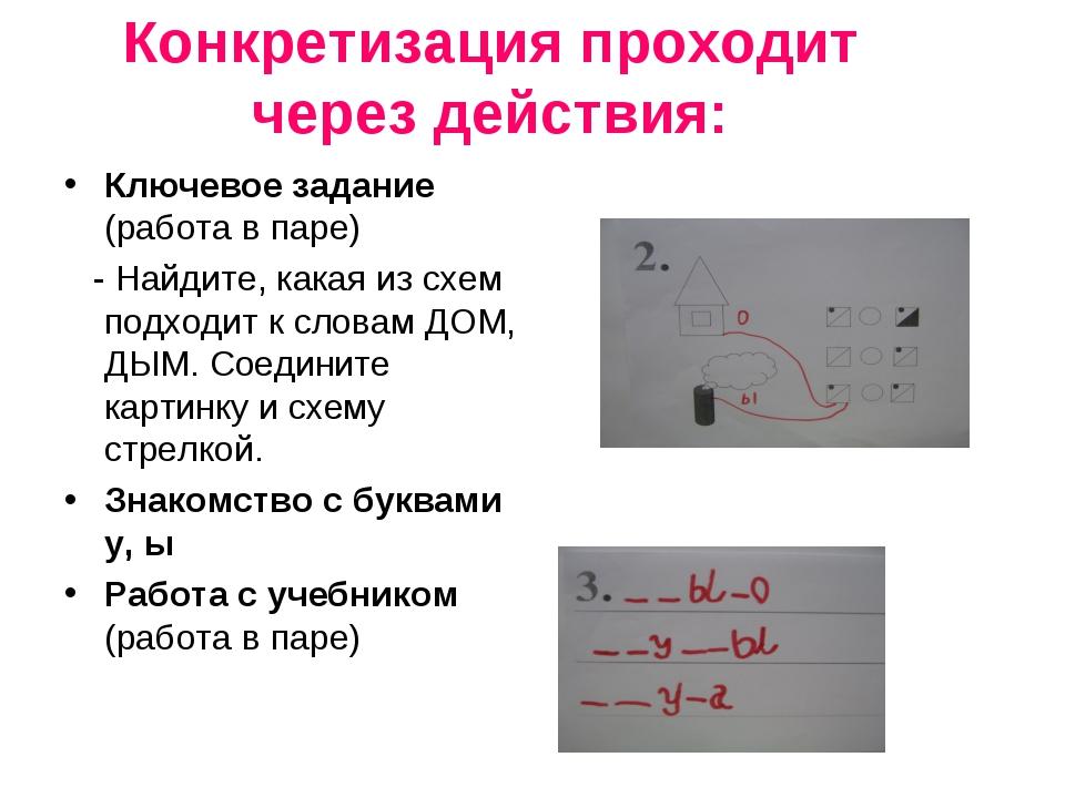 Конкретизация проходит через действия: Ключевое задание (работа в паре) - На...