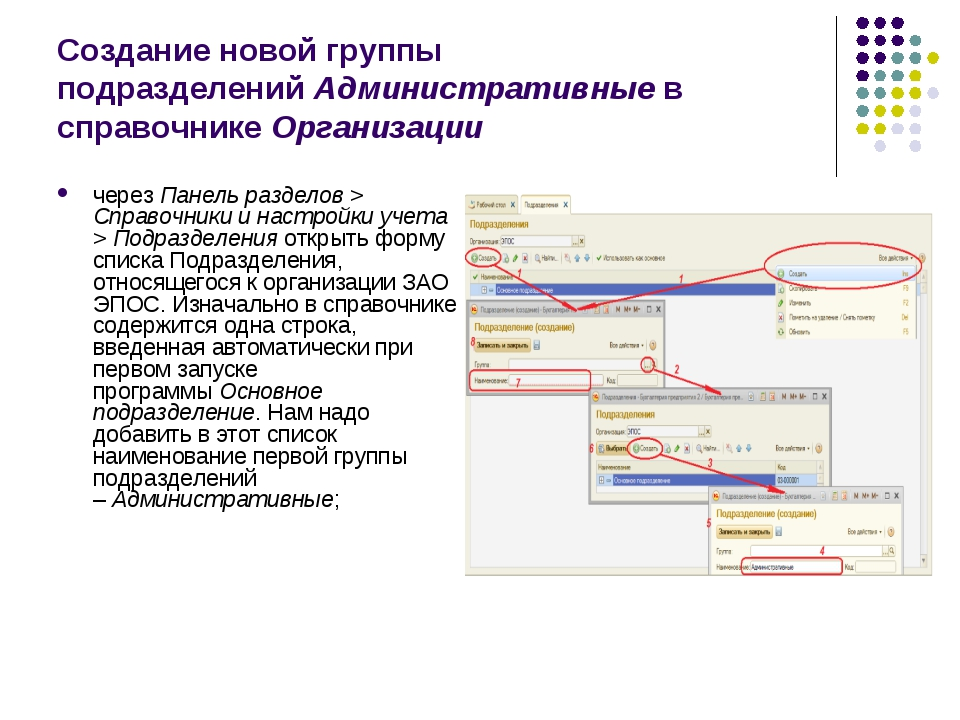 Создание новой группы подразделенийАдминистративныев справочникеОрганизаци...