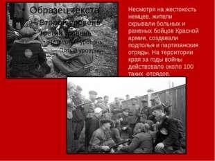 Несмотря на жестокость немцев, жители скрывали больных и раненых бойцов Крас
