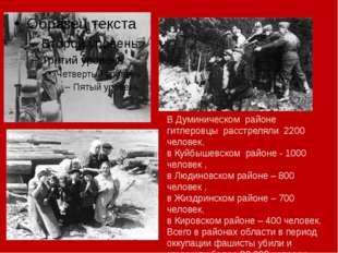 В Думиническом районе гитлеровцы расстреляли 2200 человек, в Куйбышевском ра