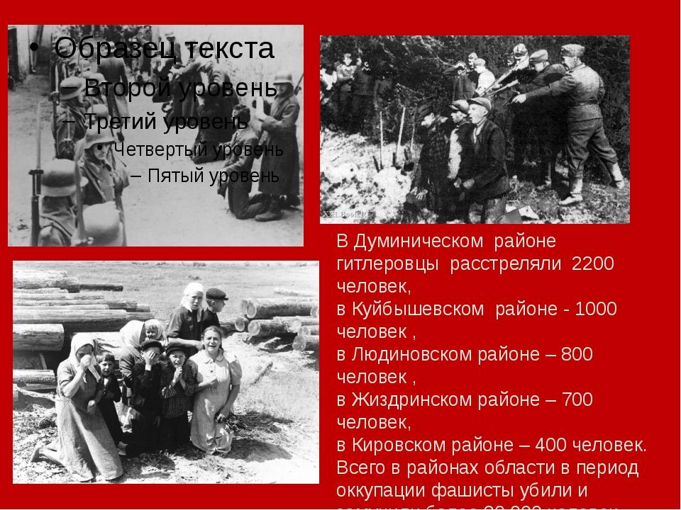 В Думиническом районе гитлеровцы расстреляли 2200 человек, в Куйбышевском ра...
