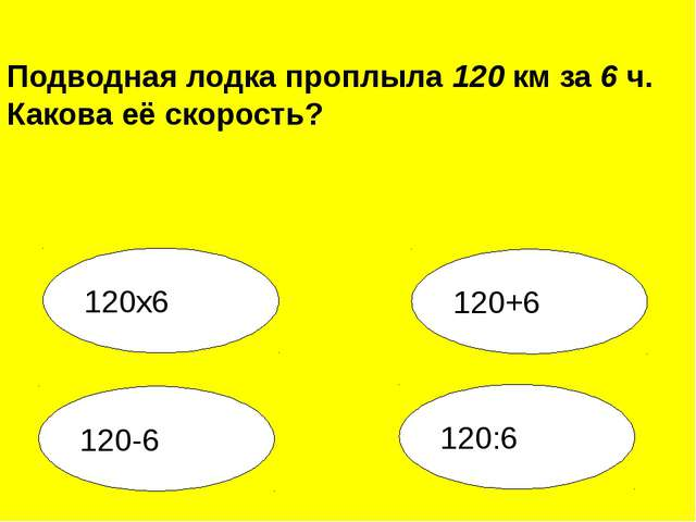 120:6 120-6 120+6 120х6 Подводная лодка проплыла 120 км за 6 ч. Какова её ско...
