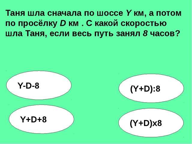 (Y+D):8 Y-D-8 Y+D+8 (Y+D)x8 Таня шла сначала по шоссе Y км, а потом по просёл...