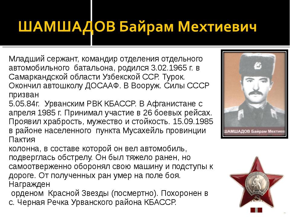 Младший сержант, командир отделения отдельного автомобильного батальона, роди...