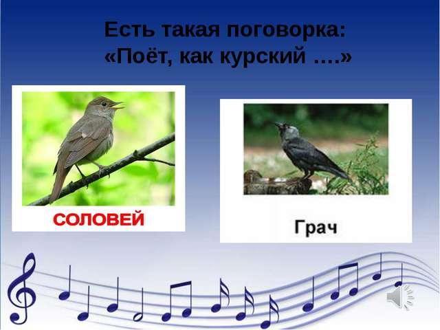 Есть такая поговорка: «Поёт, как курский ….»