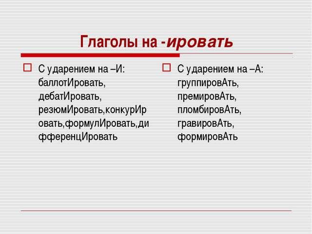 Глаголы на -ировать С ударением на –И: баллотИровать, дебатИровать, резюмИров...