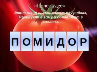 «Поле чудес» Этот овощ выращивают на грядках, маринуют в зиму и добавляют в с