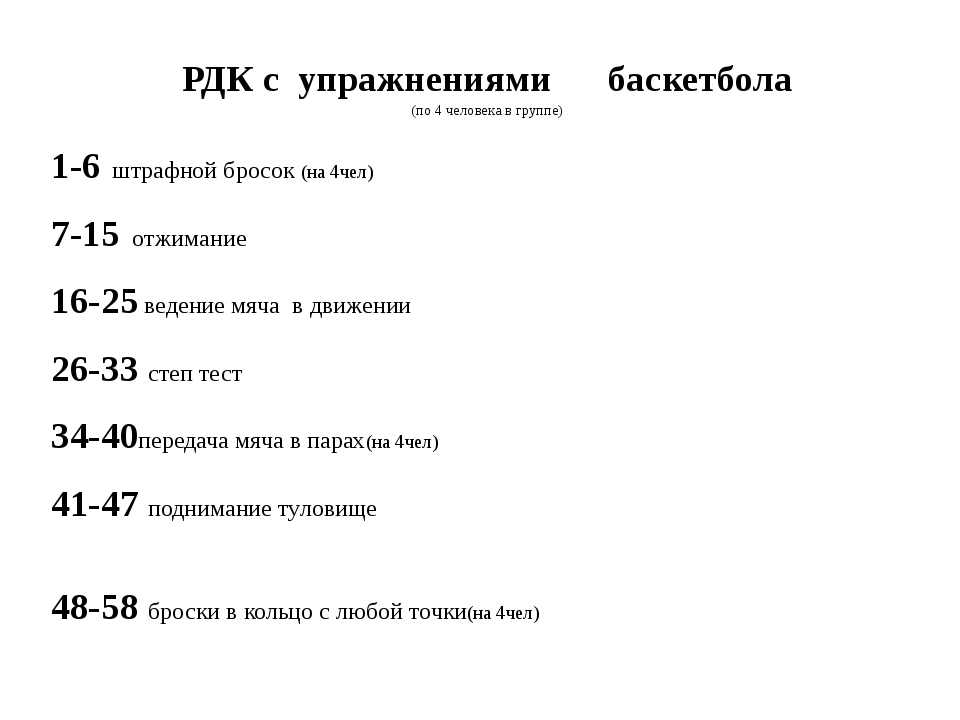 РДК с упражнениями баскетбола (по 4 человека в группе) 1-6 штрафной бросок (н...