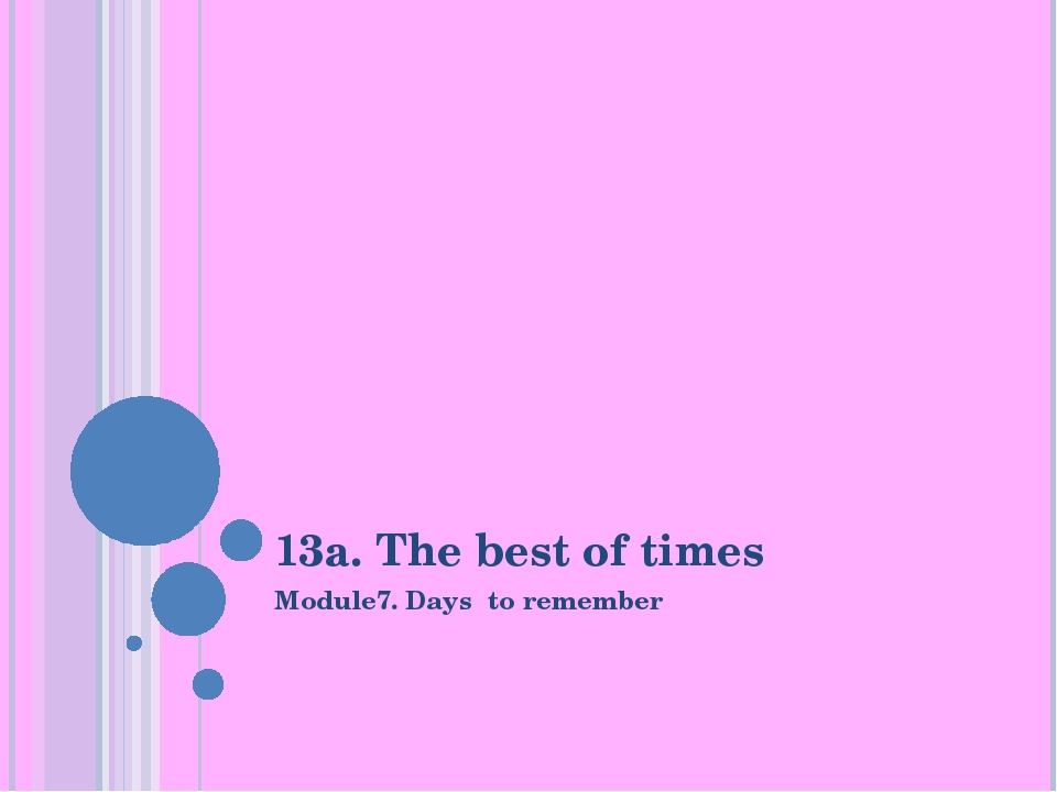 13a. The best of times Module7. Days to remember