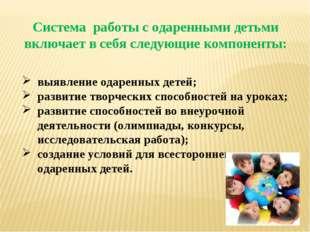 Система работы с одаренными детьми включает в себя следующие компоненты: выяв