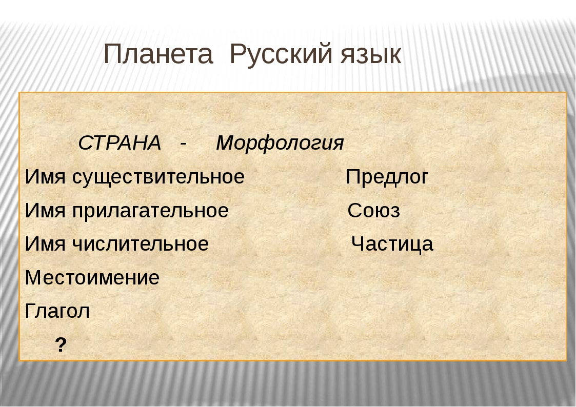 Планета Русский язык СТРАНА - Морфология Имя существительное Предлог Имя при...