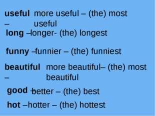 useful – more useful – (the) most useful long – longer- (the) longest funny –