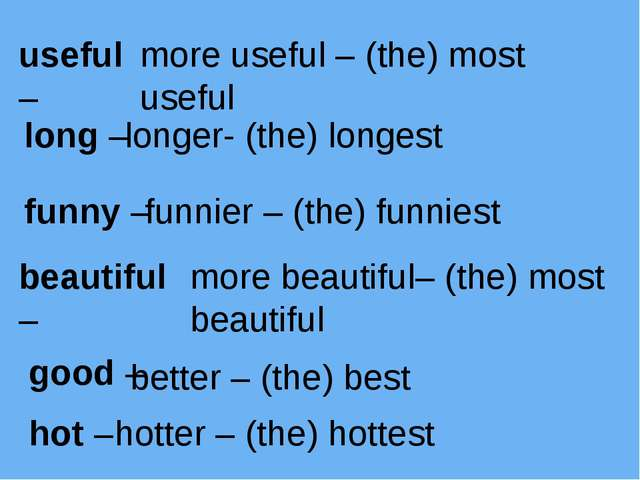 useful – more useful – (the) most useful long – longer- (the) longest funny –...