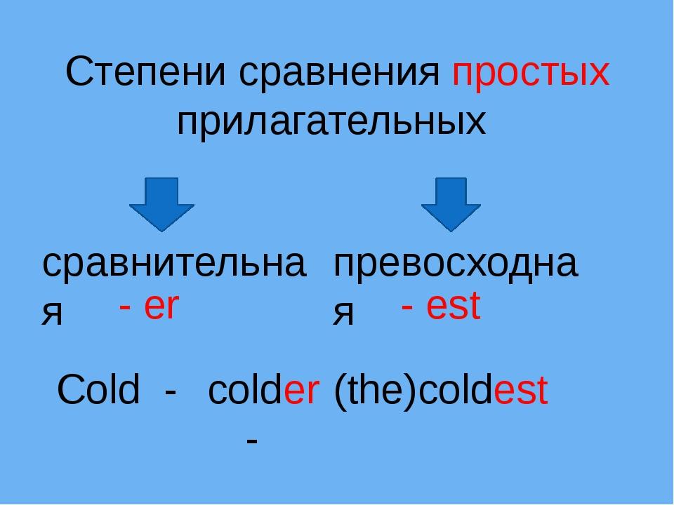 Степени сравнения простых прилагательных сравнительная превосходная Cold - co...