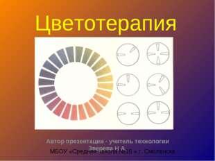 Цветотерапия Автор презентации - учитель технологии Зверева Н.А. МБОУ «Средня