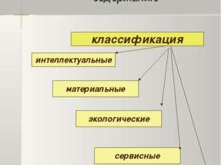 Классификация проектов по содержанию интеллектуальные материальные экологичес