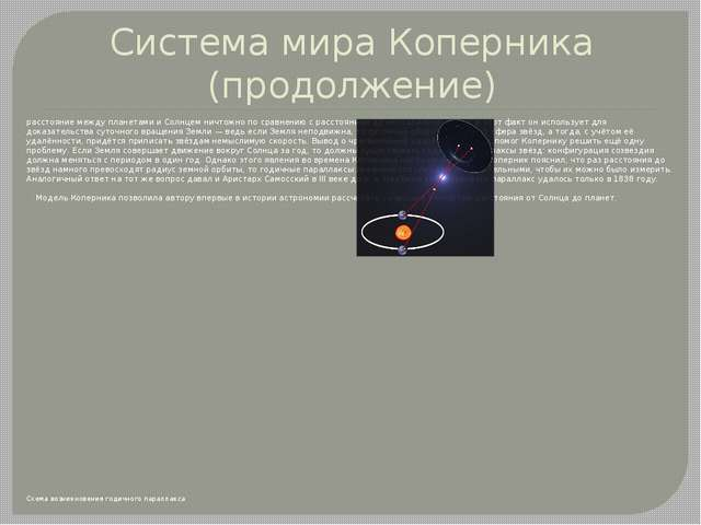 Система мира Коперника (продолжение) расстояние между планетами и Солнцем нич...
