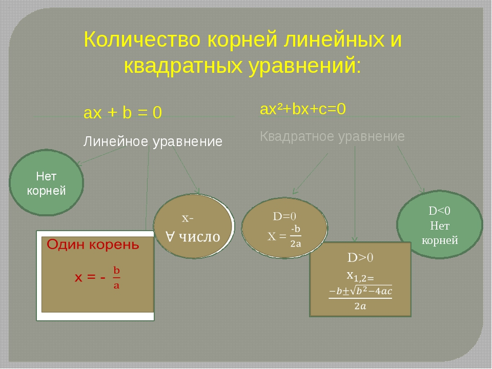 Количество корней линейных и квадратных уравнений: ax + b = 0 Линейное уравне...