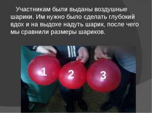 Участникам были выданы воздушные шарики. Им нужно было сделать глубокий вдох