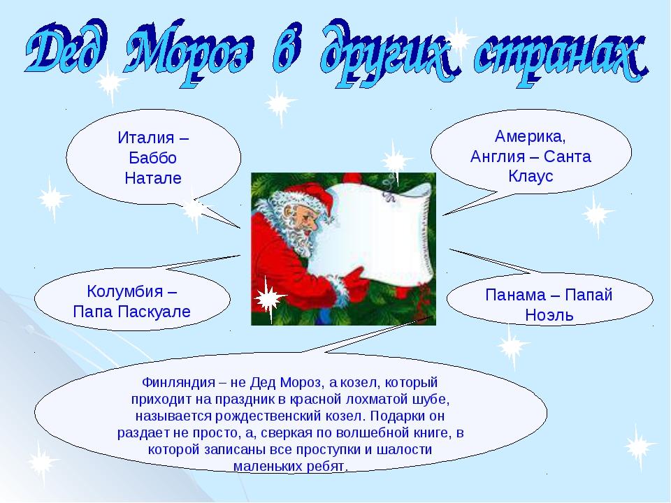 Америка, Англия – Санта Клаус Италия – Баббо Натале Колумбия – Папа Паскуале...