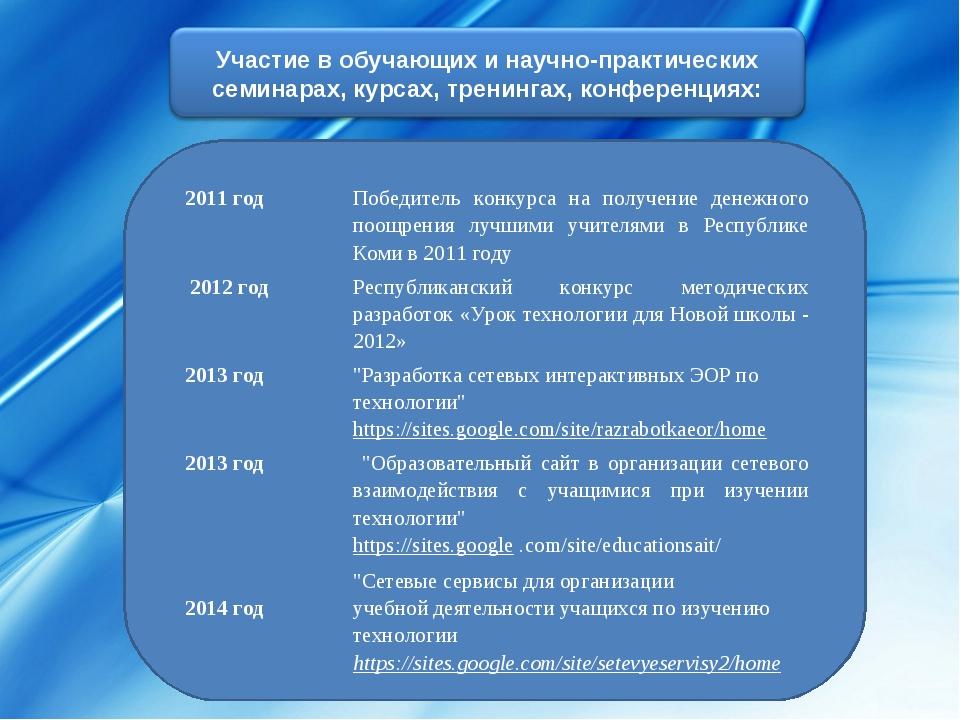 2011 годПобедитель конкурса на получение денежного поощрения лучшими учителя...