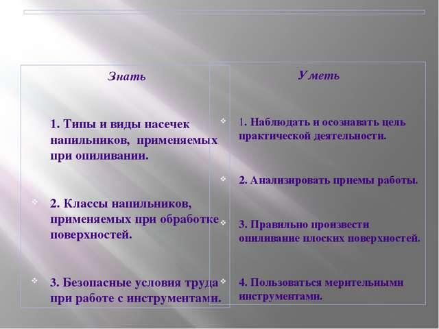 ОБУЧАЮЩИЙСЯ ПО ТЕМЕ ДОЛЖЕН:   Знать  1. Типы и виды насечек напильников,...