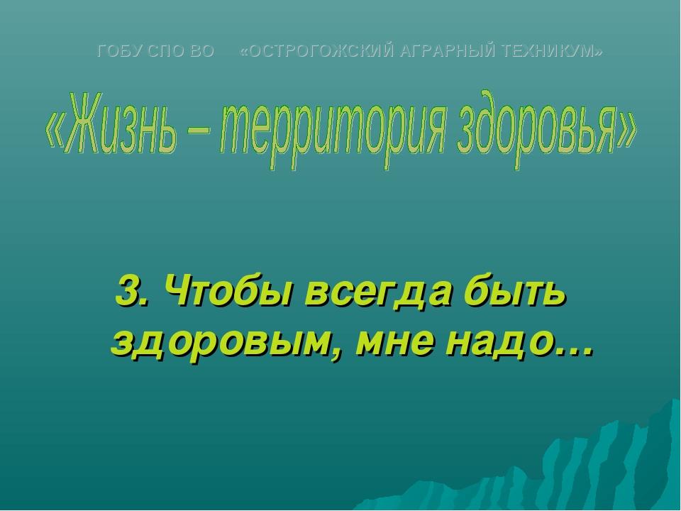 3. Чтобы всегда быть здоровым, мне надо… ГОБУ СПО ВО «ОСТРОГОЖСКИЙ АГРАРНЫЙ...