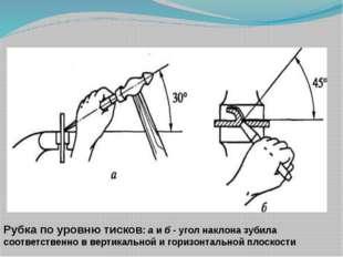 Рубка по уровню тисков: а и б - угол наклона зубила соответственно в вертикал