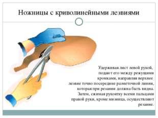 Ножницы с криволинейными лезвиями Удерживая лист левой рукой, подают его межд