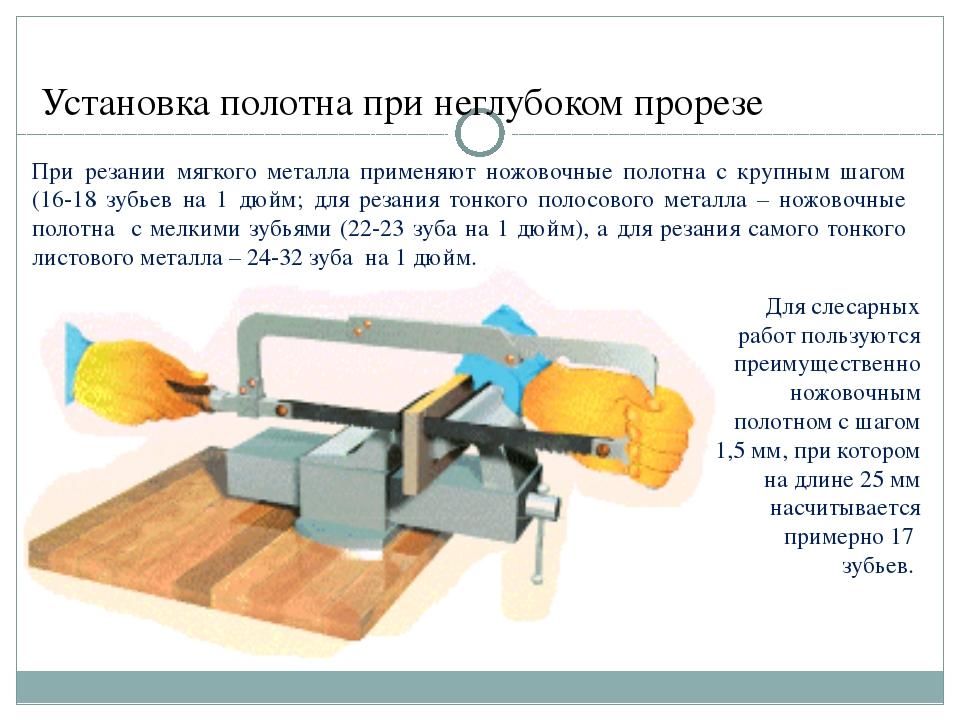 Установка полотна при неглубоком прорезе При резании мягкого металла применяю...