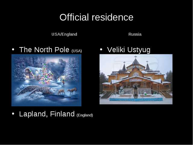 Official residence USA/England Russia The North Pole (USA) Lapland, Finland...
