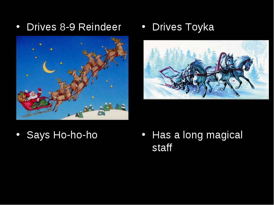 Drives 8-9 Reindeer Says Ho-ho-ho Drives Toyka Has a long magical staff