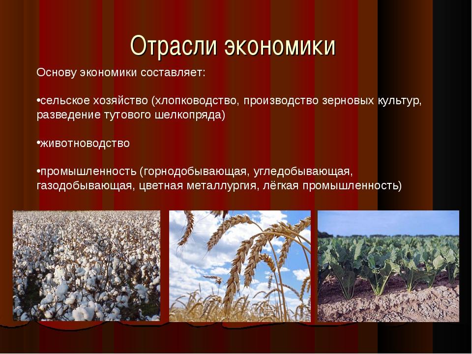 Отрасли экономики Основу экономики составляет: сельское хозяйство (хлопководс...