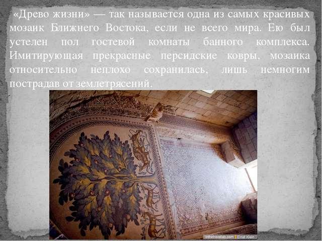 «Древо жизни» — так называется одна из самых красивых мозаик Ближнего Восток...
