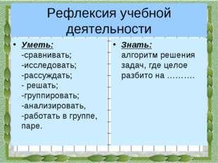 Рефлексия учебной деятельности Уметь: -сравнивать; -исследовать; -рассужда