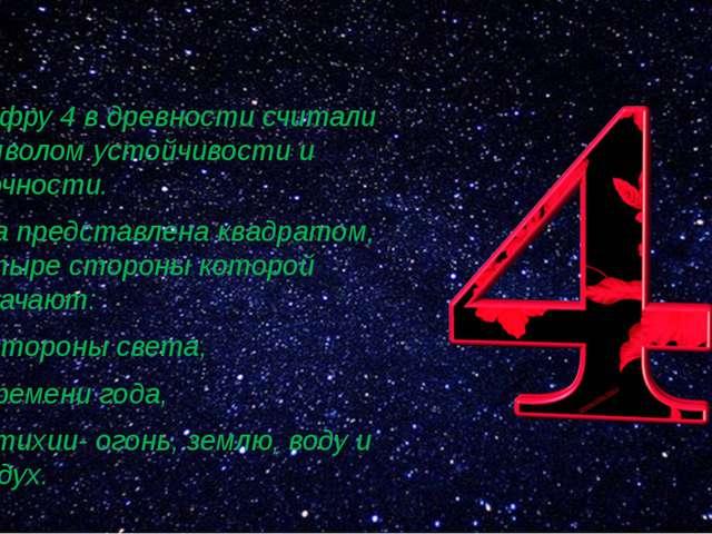 Цифру 4 в древности считали символом устойчивости и прочности. Она представл...