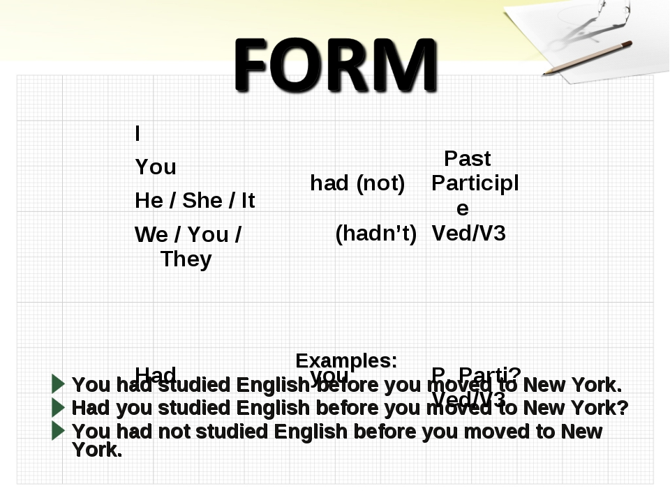 Examples: You had studied English before you moved to New York. Had you studi...