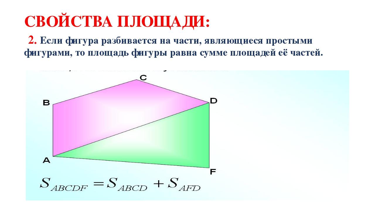 СВОЙСТВА ПЛОЩАДИ: 2. Если фигура разбивается на части, являющиеся простыми фи...